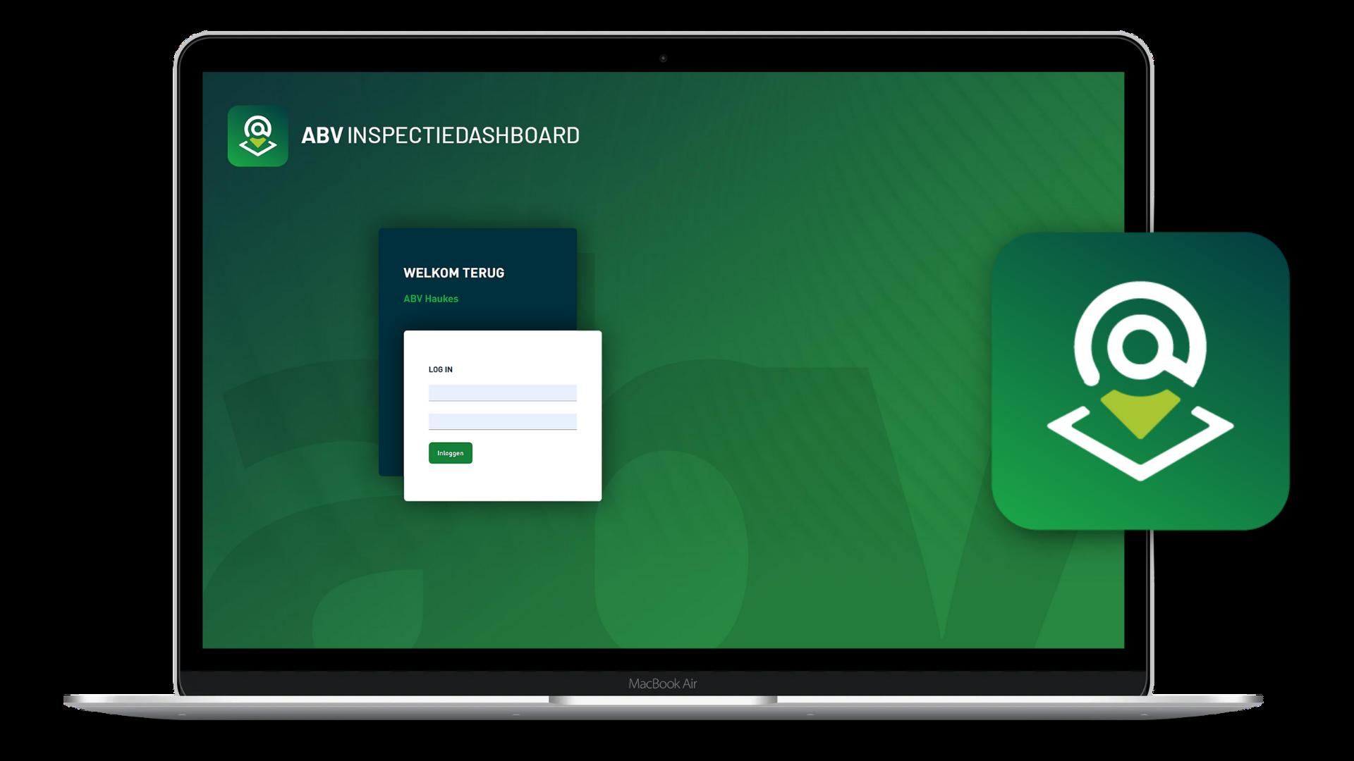 Mockup inlogscherm ABV Inspectie dashboard